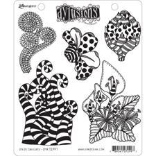 Cling Rubber Stamp Set - Dylusions / Stripy Curlicues