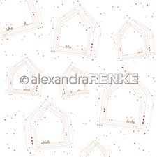 "Alexandra Renke Design Scrapbook Paper 12x12"" - Geometric Christmas / Many Houses"