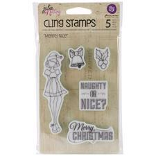Prima Mixed Media Doll Stamp Cling Stamps - Merry Nice