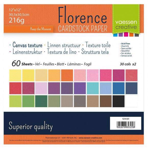 "Vaessen Creative Florence 12x12"" Cardstock Multipack - 60 ark Canvas Texture"