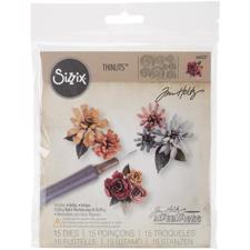 Sizzix Thinlits - Tim Holtz / Tiny Tattered Florals (incl. tool)