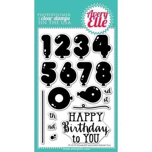 Avery Elle Clear Stamp - Numbered Balloons