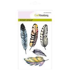 CraftEmotions Clear Stamp Set - Feathers