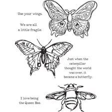 Dina Wakley Cling Rubber Stamp Set - Scribbly Insects