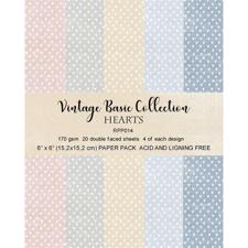"RePrint Scrapbooking Paper pack 6x6"" - Basic Collection Pastel Hearts"