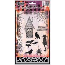 Dylusion Clear Stamp & Stencil Set - Eat Drink & Be Scary