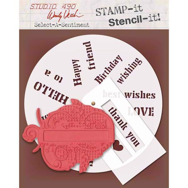 Studio 490 Stamp it Stencil it - Select-a-Sentiment