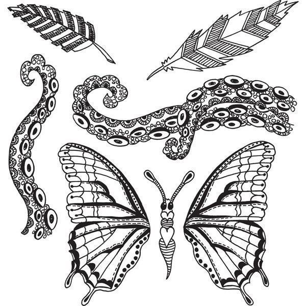 Cling Rubber Stamp Set - Dylusions / Flight Of Fancy