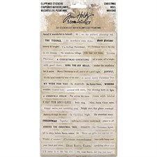 Tim Holtz / Idea-ology - Clippings Stickers / Christmas Words & Phrases