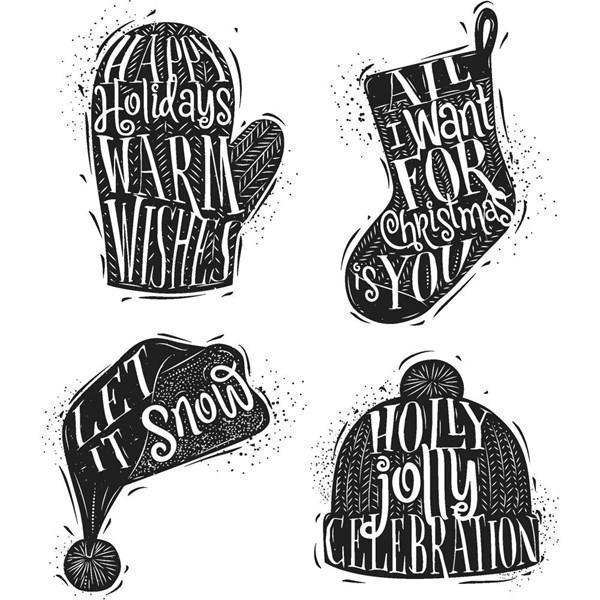 Tim Holtz Cling Rubber Stamp Set - Carved Christmas #1