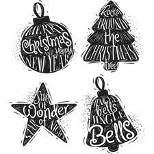 Tim Holtz Cling Rubber Stamp Set - Carved Christmas #2