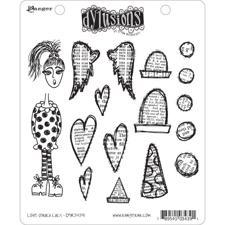 Cling Rubber Stamp Set - Dylusions / Love Struck Lucy