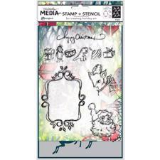 Dina Wakley Clear Stamp & Stencil Set - Winter Holiday