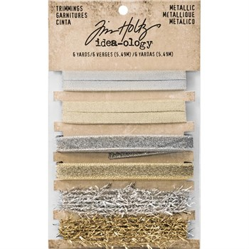 Tim Holtz / Idea-ology - Gold & Silver Trimmings (bånd)