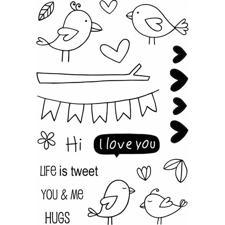 Jane's Doodles Clear Stamp Set - Love Birds