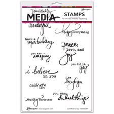 Dina Wakley Cling Rubber Stamp Set - Just What To Say