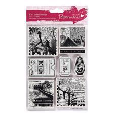 Cling Stempel - Papermania / Set - Book Print - Around The World 1
