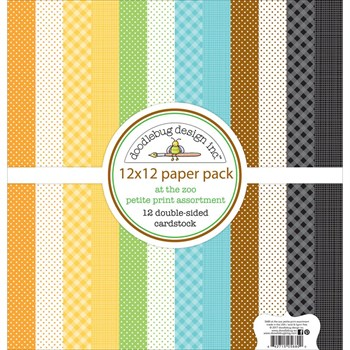 "Doodlebug Design Paper PACK 12x12"" - At the Zoo PETITE (basispapir)"