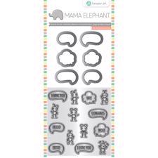 Mama Elephant / Hampton Art Clear Stamp & Die Set - Chit Chat (mini)