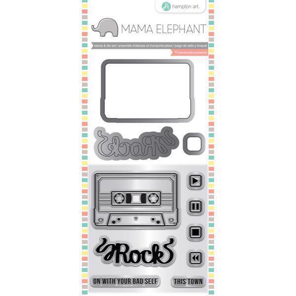 Mama Elephant / Hampton Art Clear Stamp & Die Set - Mixed Tape