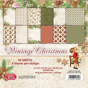 "Craft & You Paper Pad 6x6"" - Vintage Christmas"