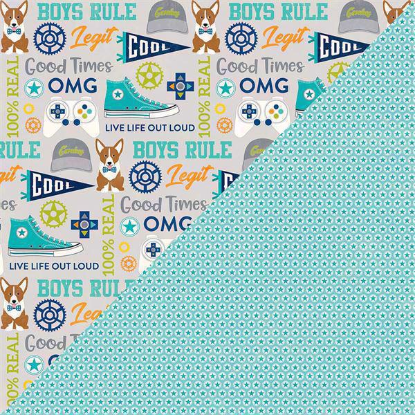 Jillibean Soup Scrapbook Paper - 2 Cool for School / Boys Rule