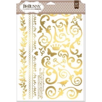 Bo Bunny Foil Rub-On - Gold Filigree