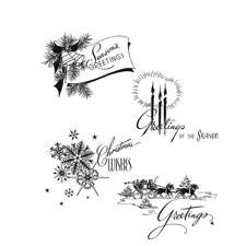 Tim Holtz Cling Rubber Stamp Set - Holiday Greetings