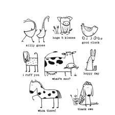 Tim Holtz Cling Rubber Stamp Set - Funny Farm