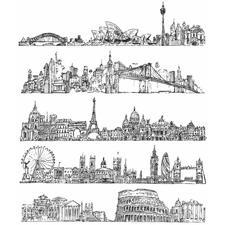 Tim Holtz Cling Rubber Stamp Set - Cityscapes
