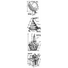 Tim Holtz Cling Rubber Stamp MINI Set - Blueprints / Birthday MINI
