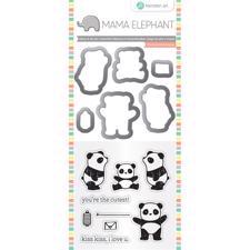 Mama Elephant / Hampton Art Clear Stamp & Die Set - Panda (mini)