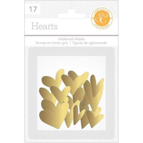 Studio Calico Essentials - Chipboard Hearts / Gold