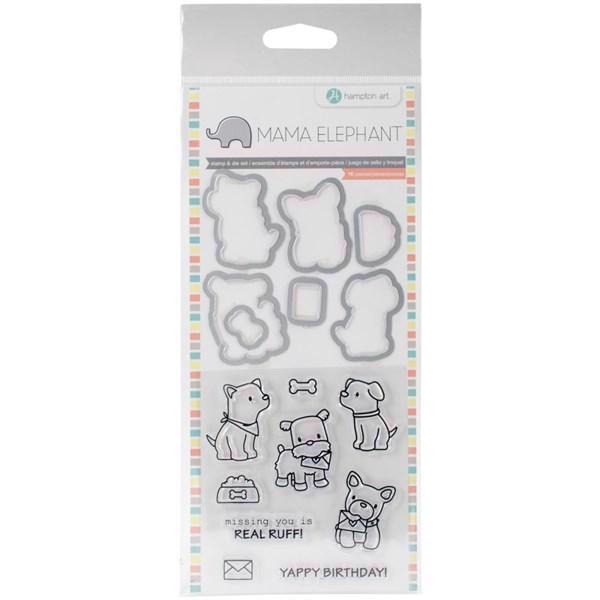 Mama Elephant / Hampton Art Clear Stamp & Die Set - Puppy Play (mini)