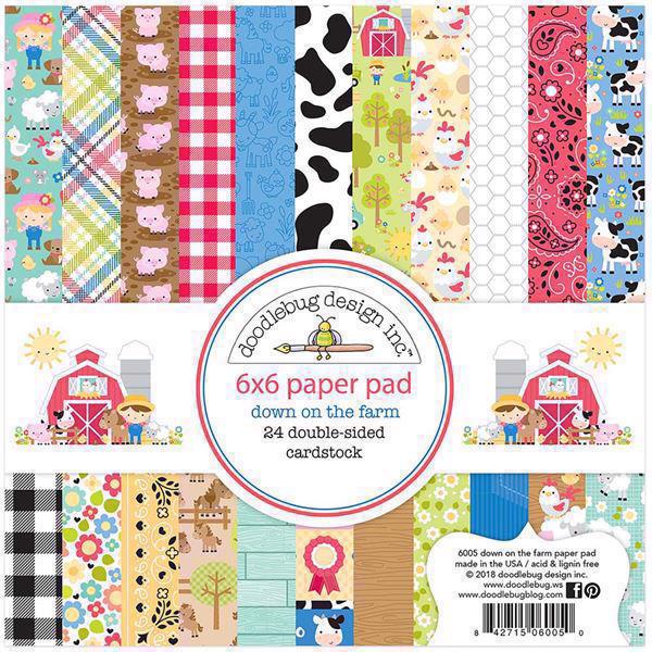 "Doodlebug Design Paper Pad 6x6"" - Down on the Farm"