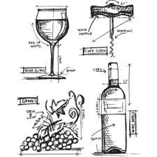 Tim Holtz Cling Rubber Stamp Set - Blueprints / Wine