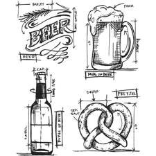 Tim Holtz Cling Rubber Stamp Set - Blueprints / Beer