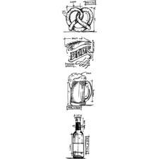 Tim Holtz Cling Rubber Stamp MINI Set - Blueprints / Beer MINI