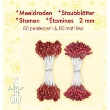 Leane Flower Foam Stamens - Red