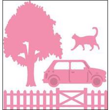 Marianne Design Collectables - Car, Tree, Fence & Cat