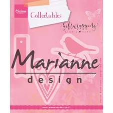 Marianne Design Collectables - Giftwrapping / Karin's Bird, Hearts & Tag