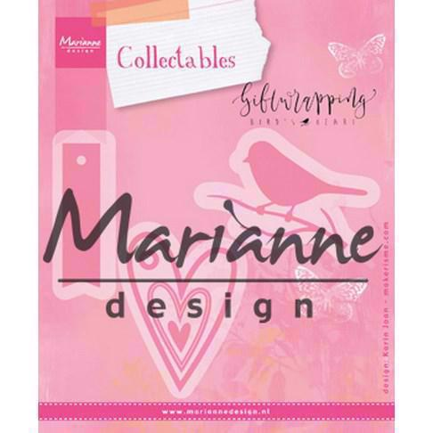 Marianne Design Collectables - Giftwrapping / Karin\'s Bird, Hearts & Tag