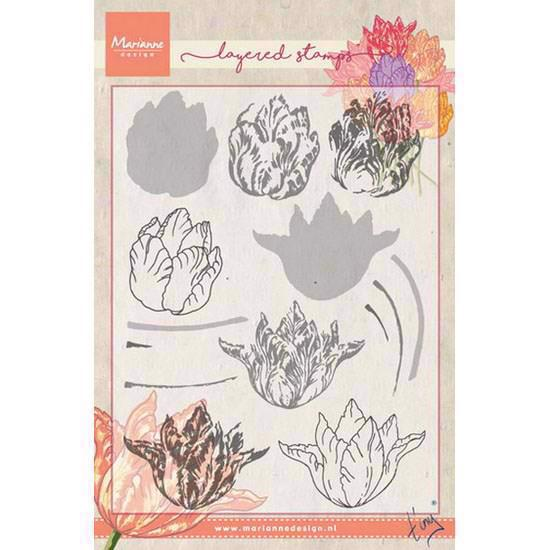 Marianne Design Clear Stamp  - Layering / Tiny\'s Tulip