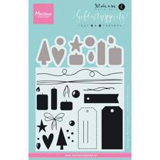 Marianne Design Clear Stamp & Die Set - Giftwrapping / Tags & Threads