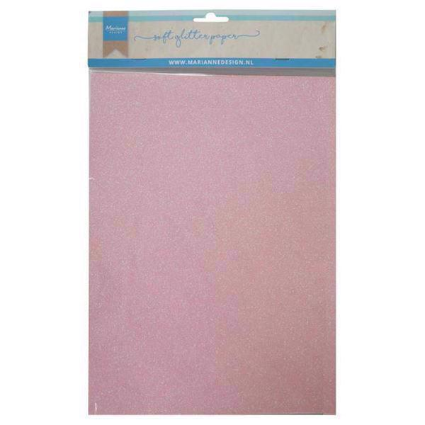 Marianne Design SOFT Glitter Paper - Light Pink (A4)