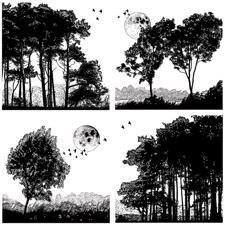 Crafty Indiviuals Umonteret Stempel - Four Tree Landscapes