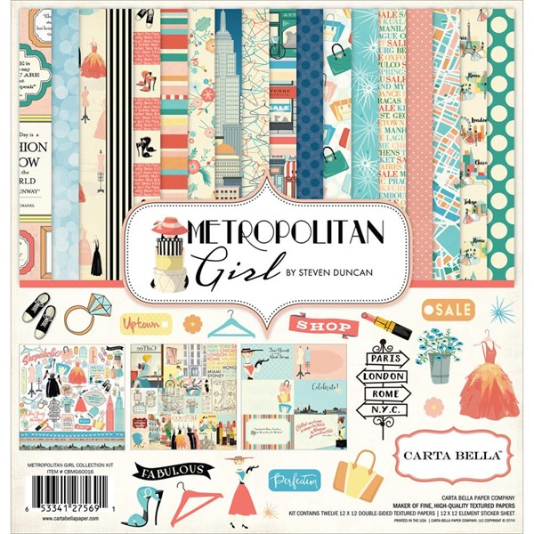 Carta Bella Scrapbook Paper Collection Kit - Metropolitan Girl