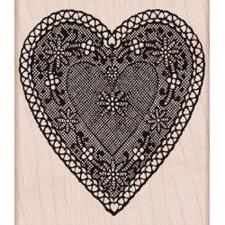 Wood Stamp - Heart Lace