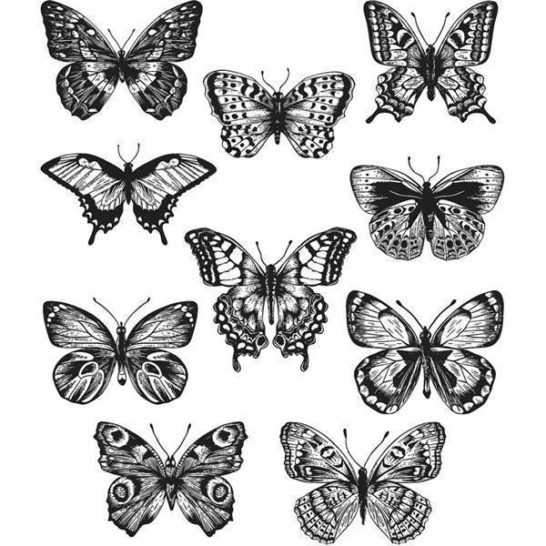 Tim Holtz Cling Rubber Stamp Set - Flutter
