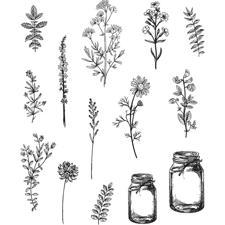 Tim Holtz Cling Rubber Stamp Set - Flower Jars